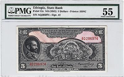 Ethiopia 5 Dollars 1945 Pmg 55 About Uncirculated P 13C Rare !!