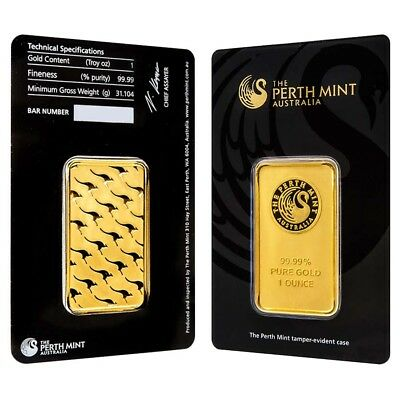 1 oz Perth Mint Gold Bar .9999 Fine (In Assay)