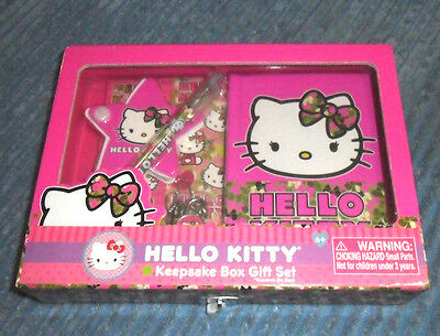 NEW Sanrio Hello Kitty Keepsake Box Gift Set Journal Memo Pad Stickers Pen NEW