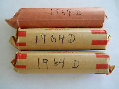 1964 D Lincoln Memorial Cent Roll 50 Copper Pennies VG or Better