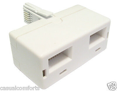 Uk Bt Ntl,two Way/ Double Telephone Plug To 2 X Sockets Adapter/ Splitter