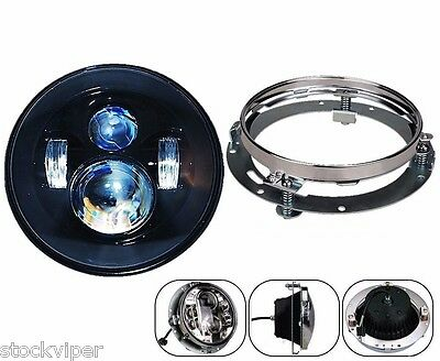 "7"" Motorcycle Daymaker LED Headlight Lamp + Extension Trim Ring For Harley"