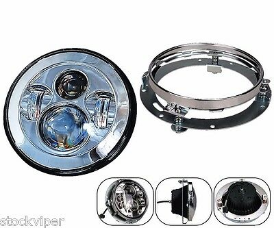 "7"" Motorcycle Daymaker CHROME LED Headlight Lamp Extension Trim Ring For Harley"