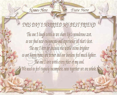 This Day I Married My Best Friend Wedding Personalized Print Poem Memory Gift