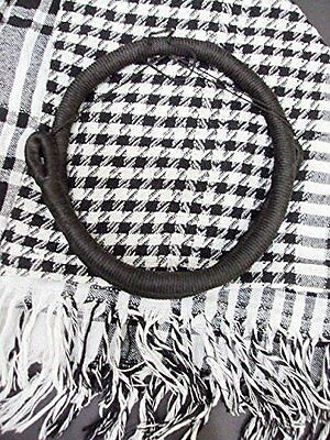 Black and White Authentic Keffiyeh Shemagh Scarf Arab Neck Head Kufiya with Agal