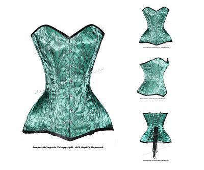 16 Full Steel Boned Heavy Lacing Satin With Net Overbust Corset #HC-CST1(SA)