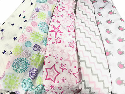 2pcs Extra Large 115cmx115cm Muslin Squares Cloths Bibs 100% Cotton GIRL Designs