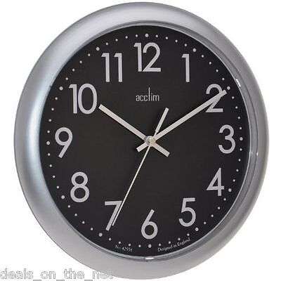 Acctim Abingdon Wall Clock Battery Powered Round Silver
