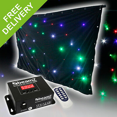 Beamz DJ Booth Skirt Star Cloth Facade Screen RGBW LED 1.2x2m DMX Remote Control