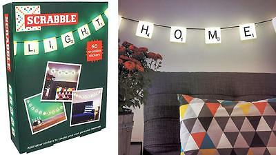 Personalizable SCRABBLE Tiles PARTY String LIGHTS + 60 Reusable Letter Stickers