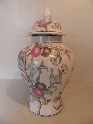 Chinese lidded pot with fruit on vine FREE UK P&P