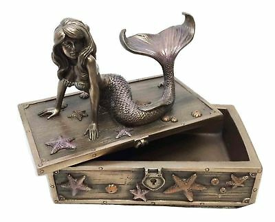 Art Nouveau Beautiful Ocean Mermaid Jewelry Box Container Home Decor Collectible