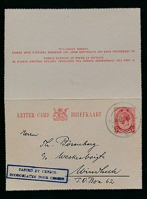 SOUTH WEST AFRICA 1915 SA KG5 1d STATIONERY LETTERCARD CENSORED...DUMB DR CANCEL