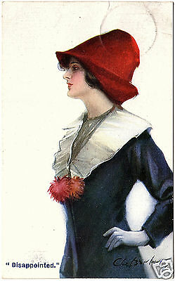 """1913, CL, Art Noveau """"Disappointed."""" Dame mit rotem Hut, sign. C. W. Barber"""