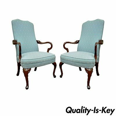 Pair Ethan Allen USA Vintage Queen Anne Library Office Lounge Fireside Arm Chair