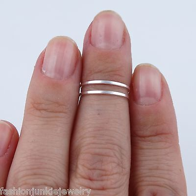 Double Bar Midi Ring - 925 Sterling Silver - Band Knuckle Ring Adjustable