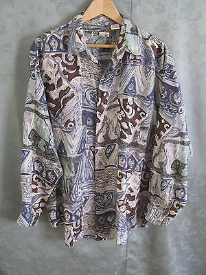 90's Al Alvin Long Sleeve Fine Silk Club Shirt Size Large Abstract
