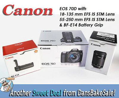 Canon EOS 70D w/ EFS 18-135mm, 55-250mm IS STM Lenses & BF-E14 Battery Grip