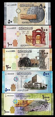 Syria Set Unc 5 Pcs 50 100 200 500 1000 Pounds 2009 - 2013 P.112 113 114 115 116