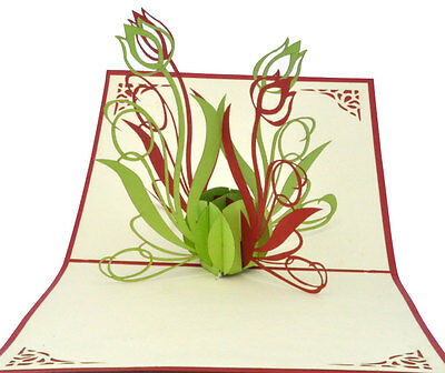 Tulip flowers - Handmade 3D pop up greeting / gift card - Blank - 12x12 cm