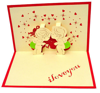 I Love You - kissing forehead- Handmade 3D pop up greeting / gift card - 11x17cm
