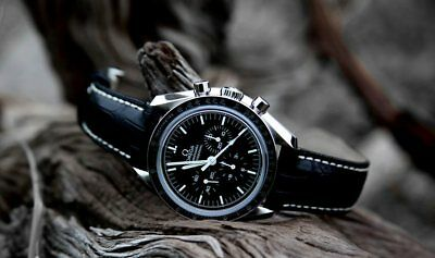 LEATHER DEPLOYMENT BUCKLE WATCH STRAP FOR OMEGA SEAMASTER SPEEDMASTER 18 20 22mm