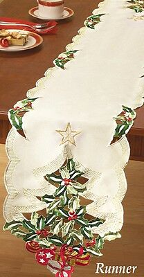 Pretty, FESTIVE Embroidered CHRISTMAS TREE Table RUNNER, NEW!