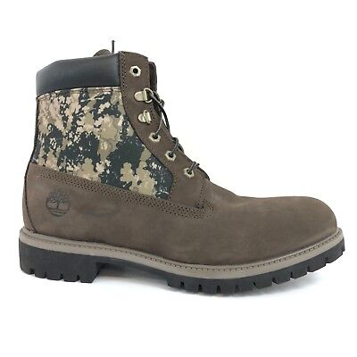 """Timberland Men's 6"""" Brown Camo Waterproof Insulated Boots Style A115E"""