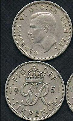 "1951 UK - Great Britain *Wedding Sixpence - ""Something Old Somethg New"""