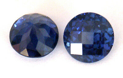 Top Grade Synthetic Deep Blue Sapphire Round Checkboard cut, sizes 4.5 - 7 mm