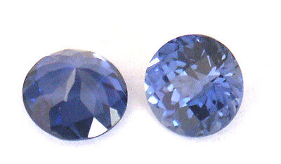 Top grade Synthetic Medium Blue Sapphire Round Checkboard cut, sizes 5 - 6.5 mm