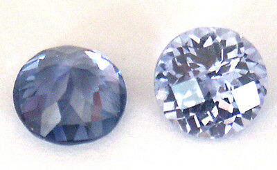 Top grade Synthetic Light Blue Sapphire Round Checkboard cut, sizes 4.5 - 7 mm