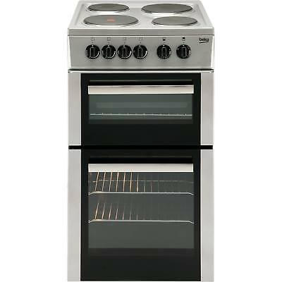 Beko BD533AS 50cm A Rated Twin Cavity Electric Cooker with 4 Burners in Silver