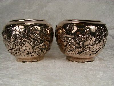 STUNNING PAIR OF LATE C19th CHINESE COPPER BOWLS, RELIEF DECORATION, SIGNED