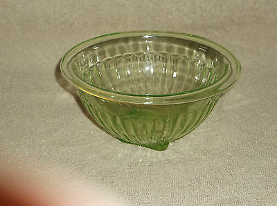 "Hocking Glass Ribbed Vaseline Green Glass 6"" Ribbed Mixing Bowl Square Base"