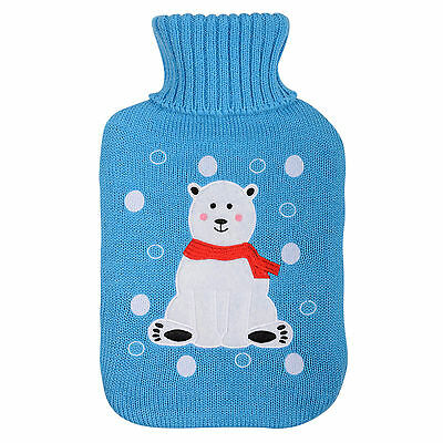 Natural Rubber Hot Water Bottle & Knitted Blue Christmas Chilly Polar Bear Cover