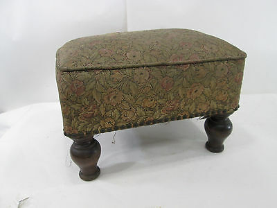 Vintage Upholstered Foot Stool with Wooden Legs