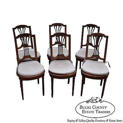 Antique Set of 6 Solid Fruitwood French Country Style Dining Chairs