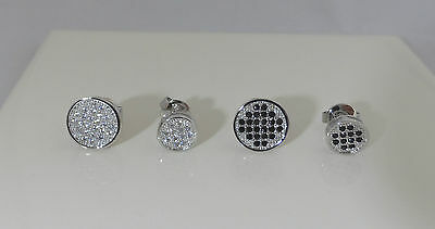 1 x White Gold GP Black created Diamond Stud Earring 7mm Round Mens Boy's Womens