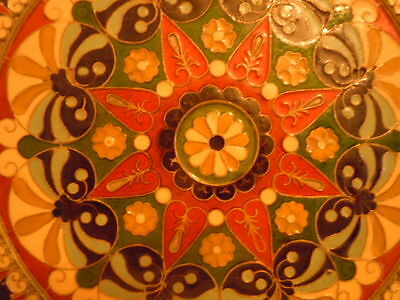 """VTG Hand Made Cloisonne Enamel Over Lay On Brass Plate Wall hanging  7 1/4"""""""