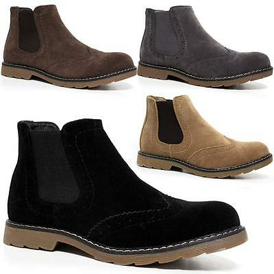 Mens Desert Boots Suede Casual Chelsea Walking Chukka Ankle Brogue Boots Shoes