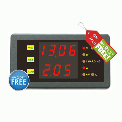 DC 120V 50A Volt Current Ah Power Combo Meter Charge Discharge Battery Monitor