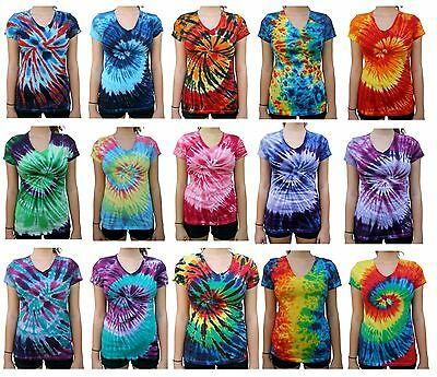 Tie Dye T-Shirt, V Neck, Women's (Regular Fit), Multi-color, 100% Cotton