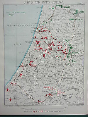 1918 WW1 MAP EGYPTIAN EXPEDITIONARY FORCE ADVANCE INTO JUDEA 27 NOV 1917 6pm