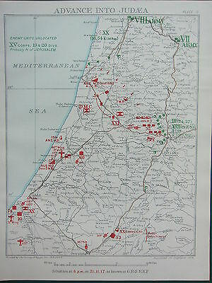 1918 Ww1 Map Egyptian Expeditionary Force ~ Advance Into Judea 21 Nov 1917 Gaza