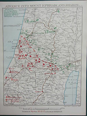 1918 Ww1 Map Egyptian Expeditionary Force ~ Advance Into Mount Ephraim & Sharon