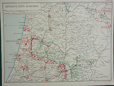 1918 WW1 MAP EGYPTIAN EXPEDITIONARY FORCE ~ ADVANCE INTO SAMARIA 10PM 19th SEPT