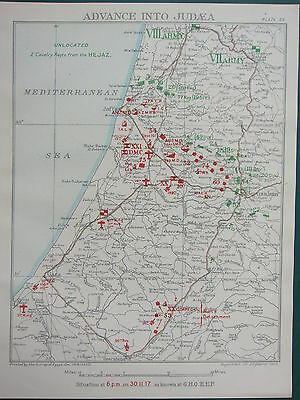 1918 WW1 MAP EGYPTIAN EXPEDITIONARY FORCE ~ ADVANCE TO JUDEA 30 NOV 1917 6pm