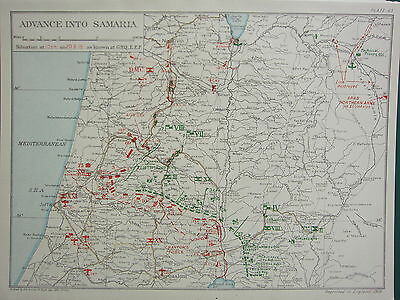 1918 WW1 MAP EGYPTIAN EXPEDITIONARY FORCE ~ ADVANCE TO SAMARIA 20th SEPT 10pm