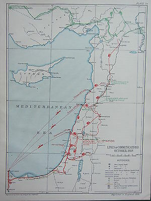 1918 Ww1 Map Egyptian Expeditionary Force ~ Lines Of Communications October